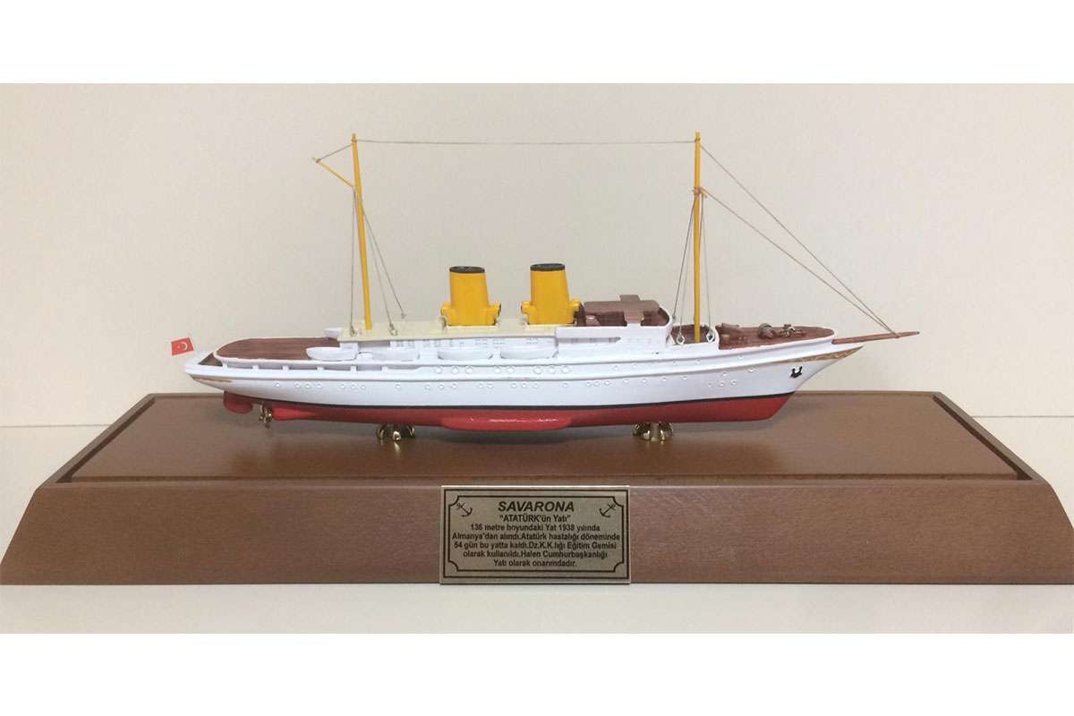 Savarona Yacht Model with a Plastic Cover