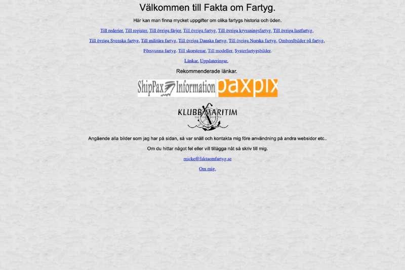 Faktaomfartyg: Micke Asklander'in Gemi Fotoğraf Web Sayfası