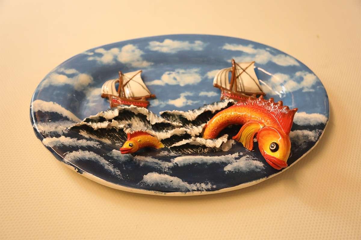 Seramik Balıklı Yelkenli Tablo