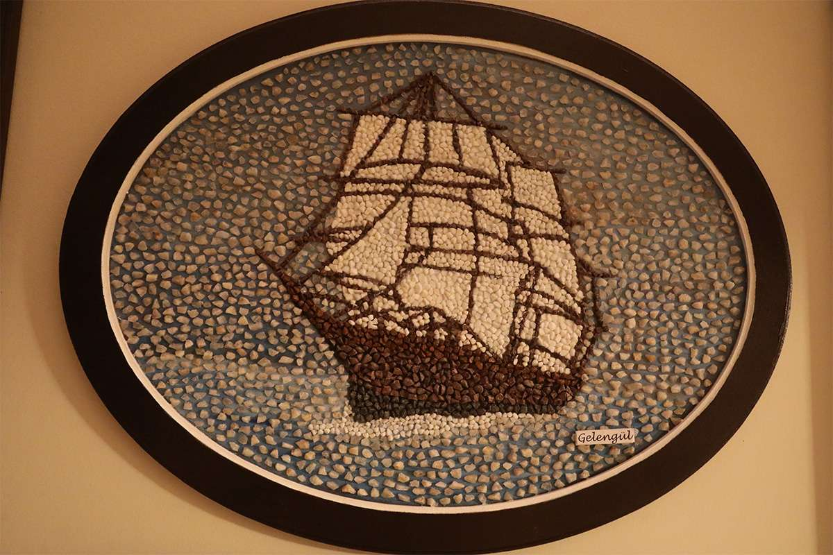Sailboat Made of Pebble Stone