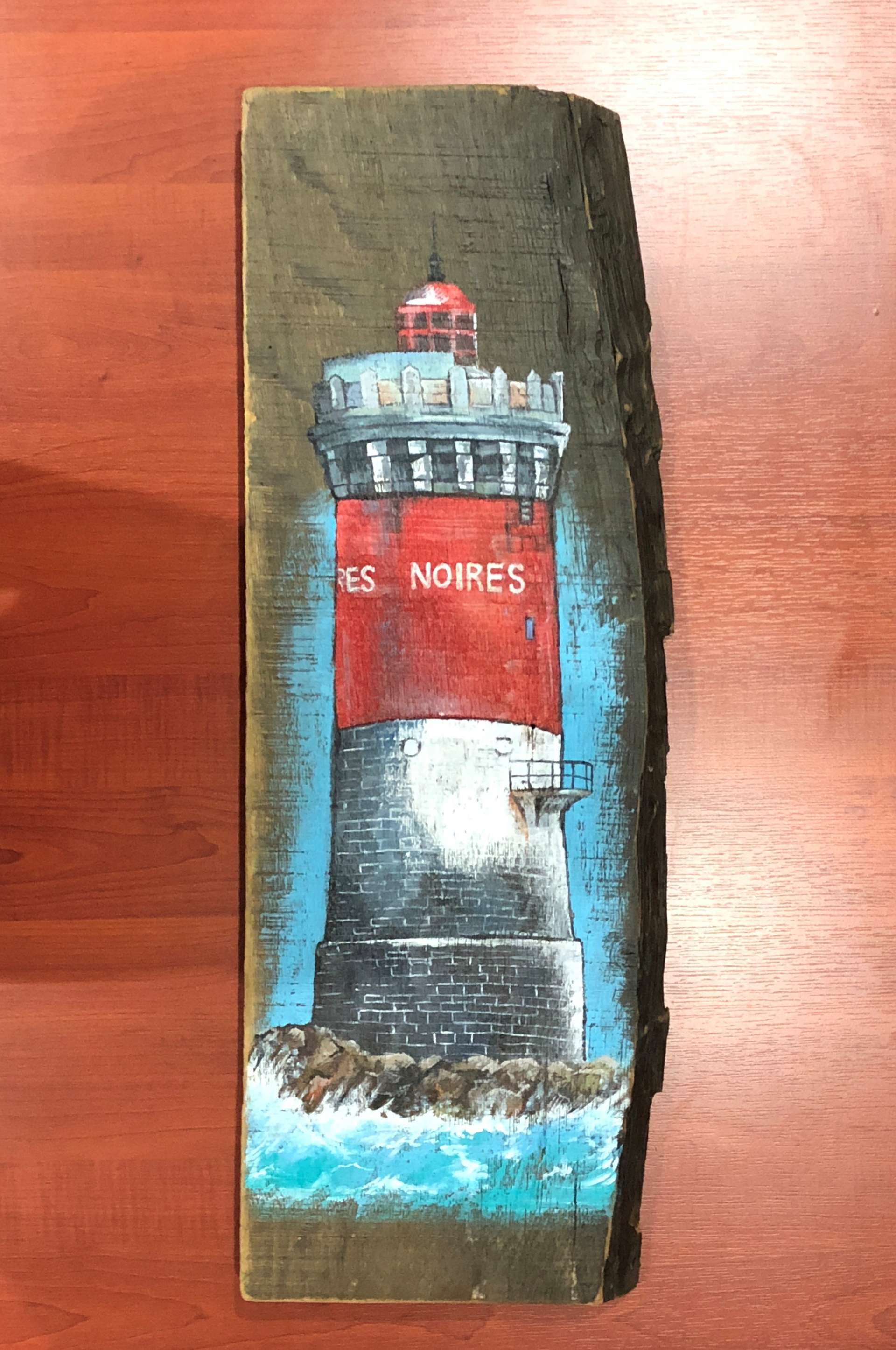 Lighthouse Drawing on Wooden Log