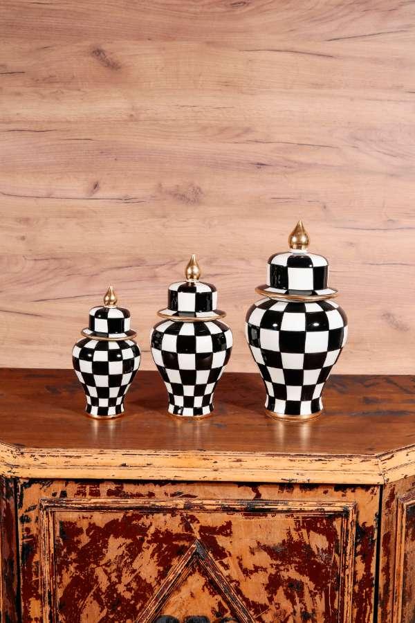 Üçlü Damalı Vazo